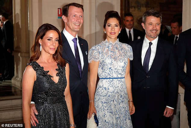 The group made a glamorous appearance at the lavish party, held in honour of their tour of the capital, which aims to promote trade relations between France and Denmark