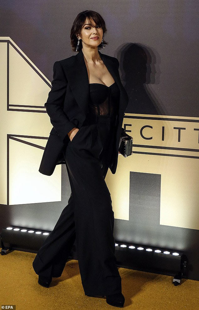 Monica Bellucci, 55, looked phenomenal as she arrived to first Italian event of the Academy of Motion Pictures, Arts and Sciences at Barberini Palace in Rome, Italy on Tuesday