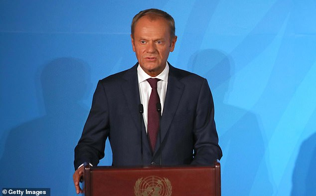 European Council chief Donald Tusk (pictured) raged at Boris Johnson and accused him of playing a 'stupid blame game' over Brexit yesterday