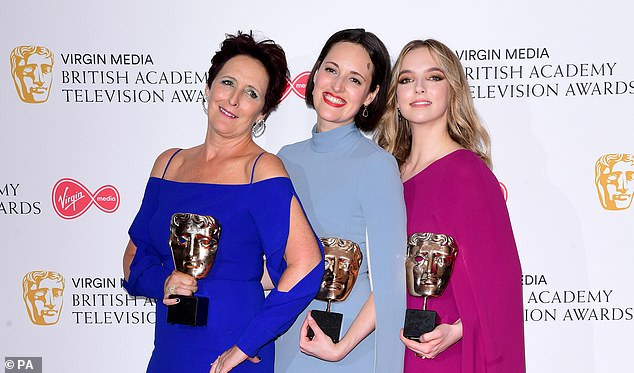 Fiona Shaw, Phoebe Waller-Bridge and Jodie Comer hold up their Bafta awards in May this year.Productions will have to meet diversity requirements to be considered in future