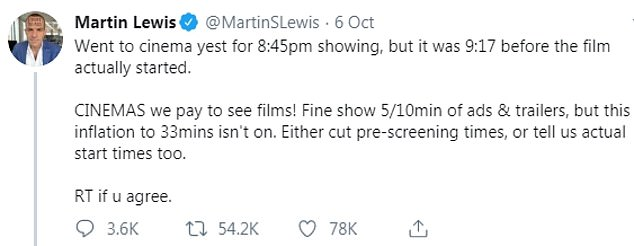 Money saving expert Martin Lewis called on cinemas to advertise the real start time of movies