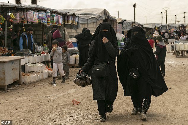 The SDF is also responsible for guarding the notorious Al-Hawl prison camp, where many captured ISIS wives and their children are being held (pictured)