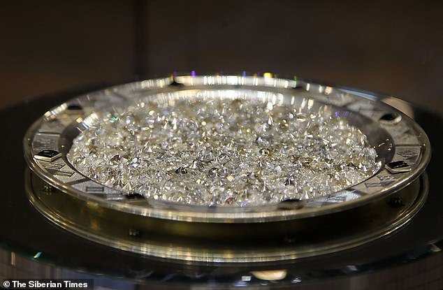 A plate with diamonds inside the so-called treasury of Yakutia, the same city in Siberia where Burkser worked and died. Alrosa, the company he worked for, is the world's largest producer of rough diamonds in carat terms