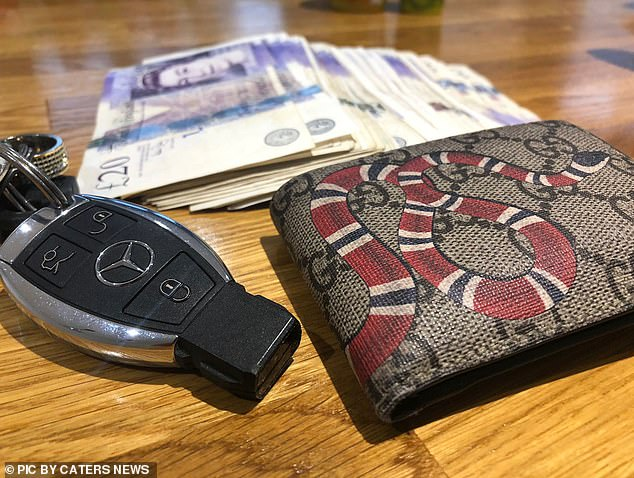 He now charges people hundreds of pounds to learn his trading tips. Designer gear owned by Luke includes a Gucci wallet (pictured above)
