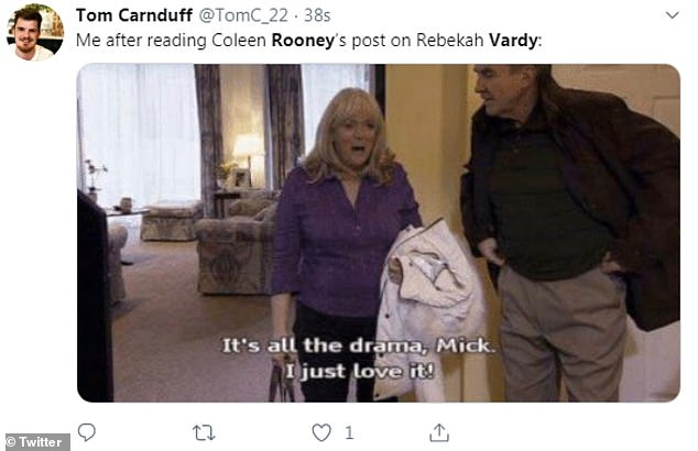 Delighting!One tweet featured a screengrab showing Larry Lamb and Alison Steadman in Gavin And Stacey, with her character Pam saying: 'It's all the drama, Mick. I just love it!'
