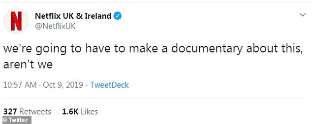 Ha!Getting in on the action, the official account for Netflix penned: 'we're going to have to make a documentary about this, aren't we'