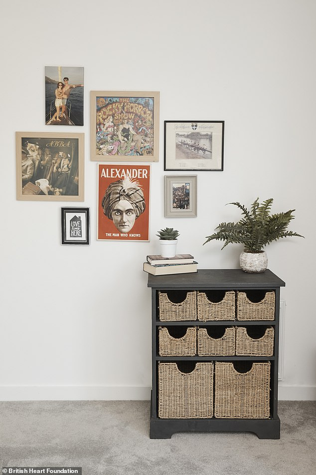 The group also bought artwork and frames from the British Heart Foundation shop, giving the home a trendy modern feel