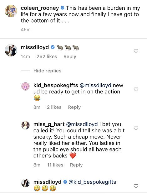 Taking sides: Fellow WAG Danielle Lloyd clearly made her feelings known when she started replying to Coleen's post with RAT emojis