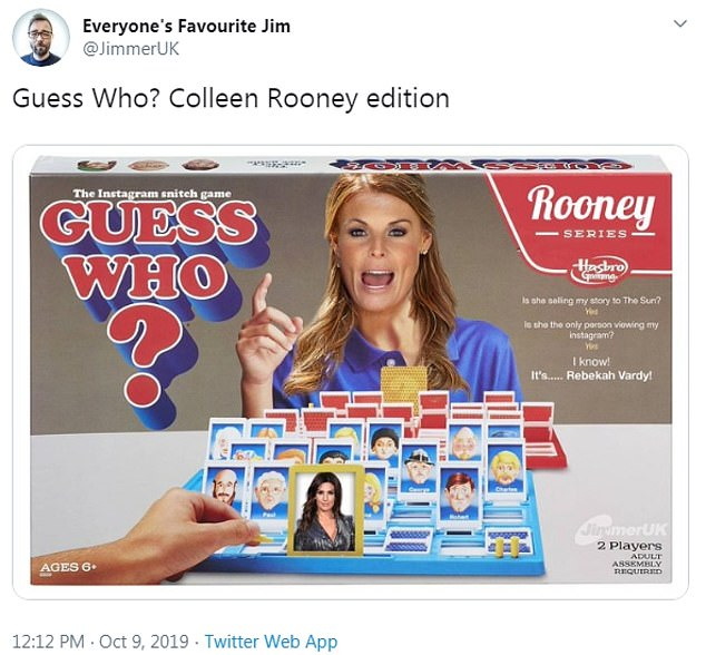 Cheeky! A hilarious meme was a mock up of Coleen in Guess Who?