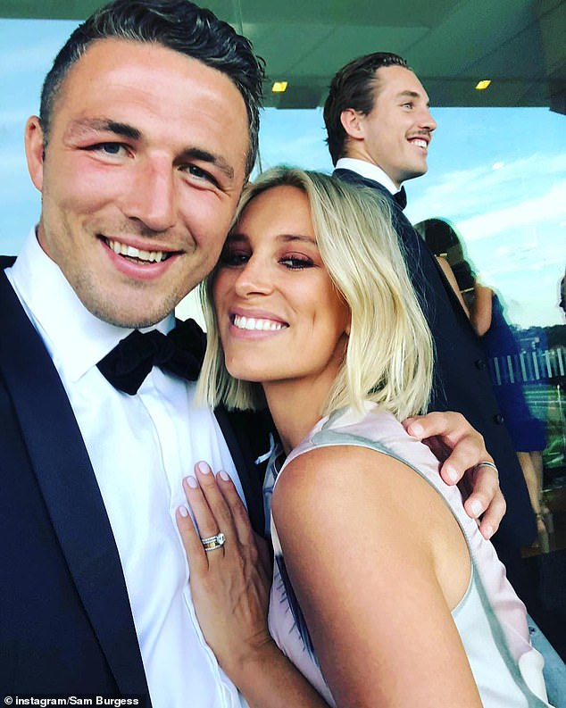 Burgess (pictured with wife Phoebe), 30, pulled out of the Great Britain team for their upcoming tour after suffering the injury in the South Sydney Rabbitohs' season-ending finals loss agains the Canberra Raiders in September