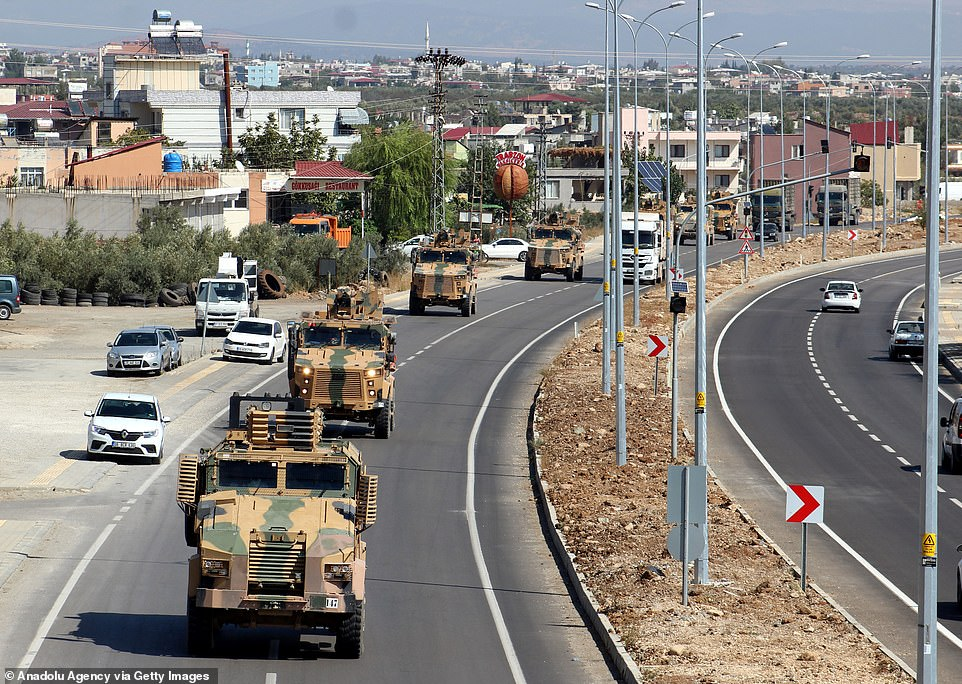 Turkish Armed Forces' armoured vehicles and armoured personnel carriers were seen in convoytowards the Syrian border at Turkey's Hatay today
