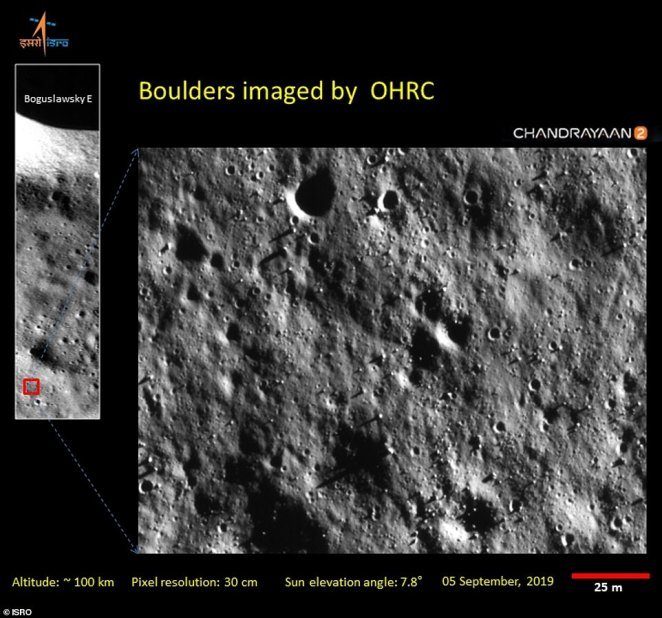 Taken by the Chandrayaan-2 orbiter on September 5, the images reveal a region of the moon that lies within the 8.7 mile (14 km) -wide impact crater Boguslawsky