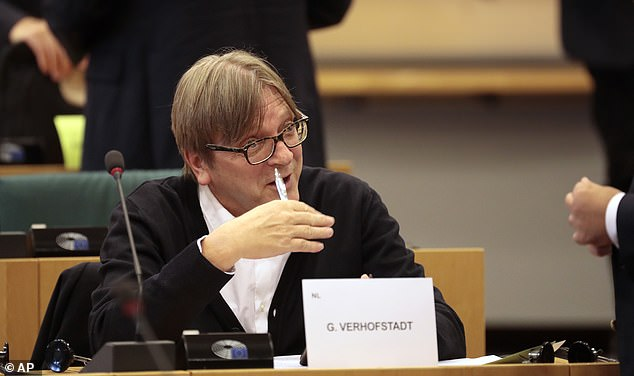 Guy Verhofstadt, pictured in the European Parliament in Brussels yesterday, today claimed that Boris Johnson was a 'traitor' to the UK