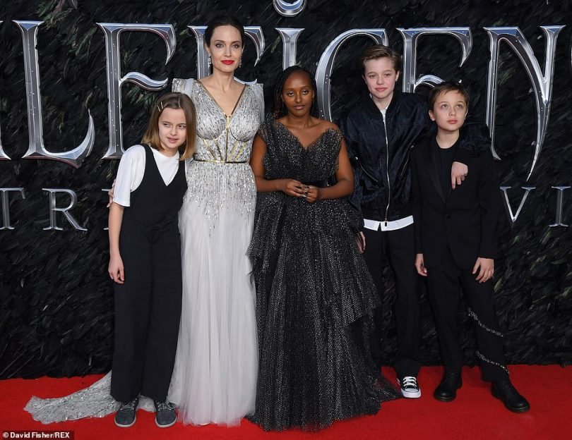 Family affair: Angelina Jolie, 44, ensured to make some time for her family as she attended the European premiere for the new Disney movie Maleficent: Mistress Of Evil in London on Wednesday