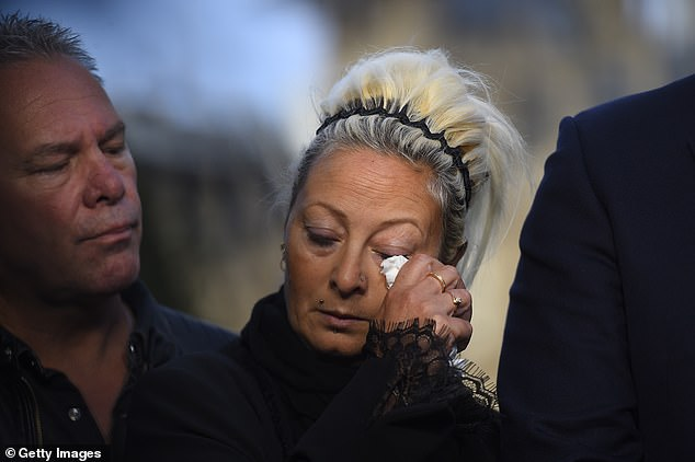 Harry Dunn's mother Charlotte weeps as she and her family speak to the media following a meeting with foreign secretary Dominic Raab yesterday afternoon