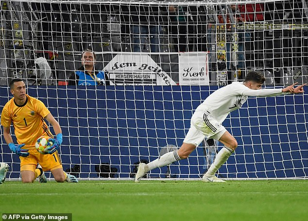 Kai Havertz doubled Germany's lead six minutes later for his first senior international goal