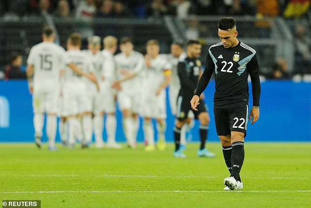 Lautaro Martinez, Argentina's lone striker, reacts after watching his side go 2-0 down
