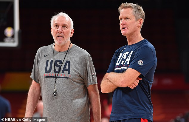 Spurs coach Gregg Popovich (left) and Warriors coach Steve Kerr (right) have both been Trump critics in the past. Now Trump accuses them of 'pandering to China' for refusing to address the ongoing rift between the country and the NBA over Rockets general manager Daryl Morey's support for pro-democracy protesters in Hong Kong. Popovich, an air force veteran, recently guided the U.S. national team to a seventh-place finish at the FIBA World Cup