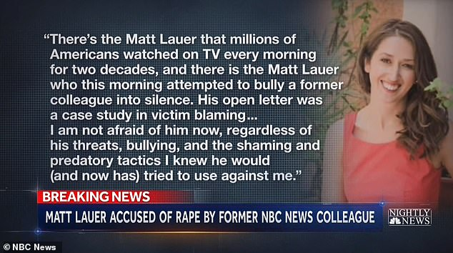 Brooke Nevils has released a statement slamming Lauer for 'victim shaming' her
