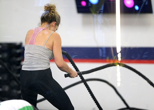 Swinging success: Abbie proved to be quite a machine when she hit the battle ropes