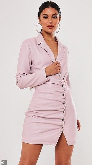 The patent leather lilac blazer dress