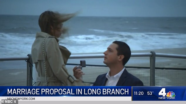 Tyler Osborne (right) brought his girlfriend of 15 months, Lisa Snyder (left), to the exact spot they have their first kiss to pop the question