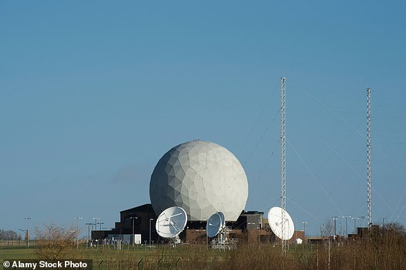 A file photo of a geodesic dome covering radar scanners and satellite dishes at the base. It is an intelligence gathering hub which the US Defense Intelligence Agency uses to collect information from Europe and Africa