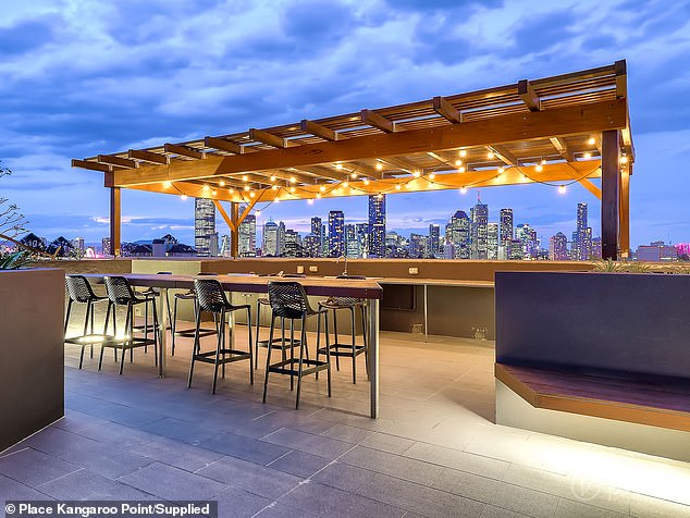 The 91sq m property is about two years old and has breathtaking views of the city from a private balcony