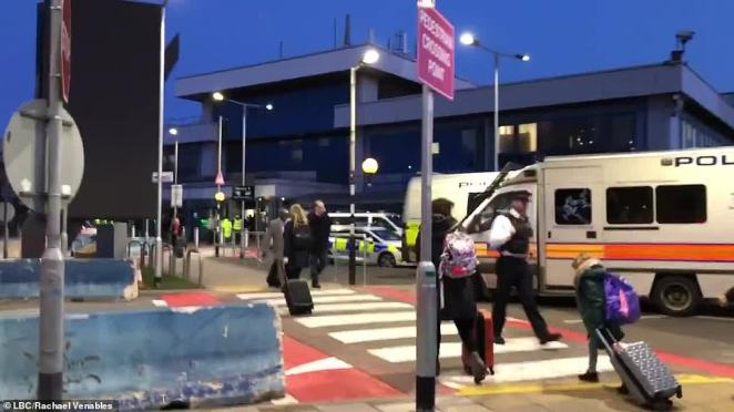 LBC journalist Rachael Venables said there were 'an extraordinary number of police officers' protecting City Airport today