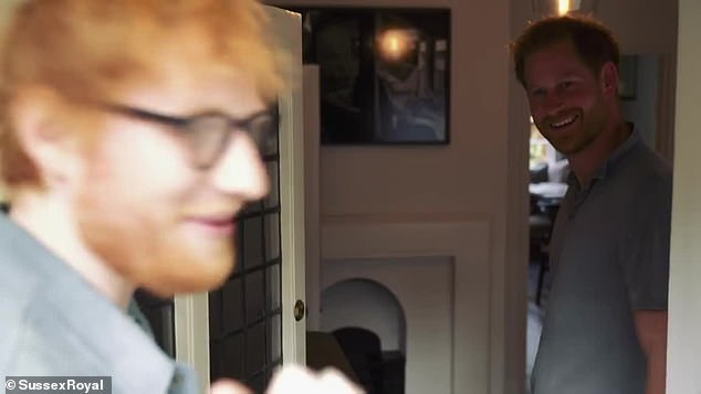 Prince Harry, 35, and Ed Sheeran, 28, revealed a sneak peek inside Princess Eugenie's, 29, home with husband Jack Brooksbank, 33, on Instagram