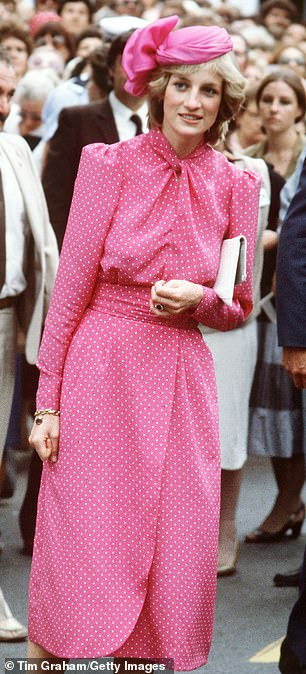 Mirror image:The rising star donned a pink polka dot dress, which was almost a carbon copy of the one Diana wore at the time while visiting the Freemantle Hospital, near Perth (pictured)