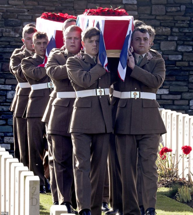Soldiers from the1st Battalion The Royal Regiment of Fusiliers carried the coffins of the two unknown soldiers identified as British to the final resting place in Ypres, Belgium