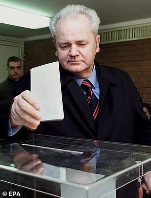 Slobodan Milosevic, pictured, prepares to vote in Belgrade in 1998. The UN was unable to try 'the butcher of the Balkans' for the conflict that tore Yugoslavia apart during the 1990s because he died while awaiting trial at the Hague in 2006