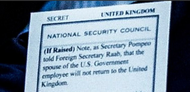 Mr Trump's bombshell briefing reveals the US has already told Britain she will not be returned to the UK to face justice