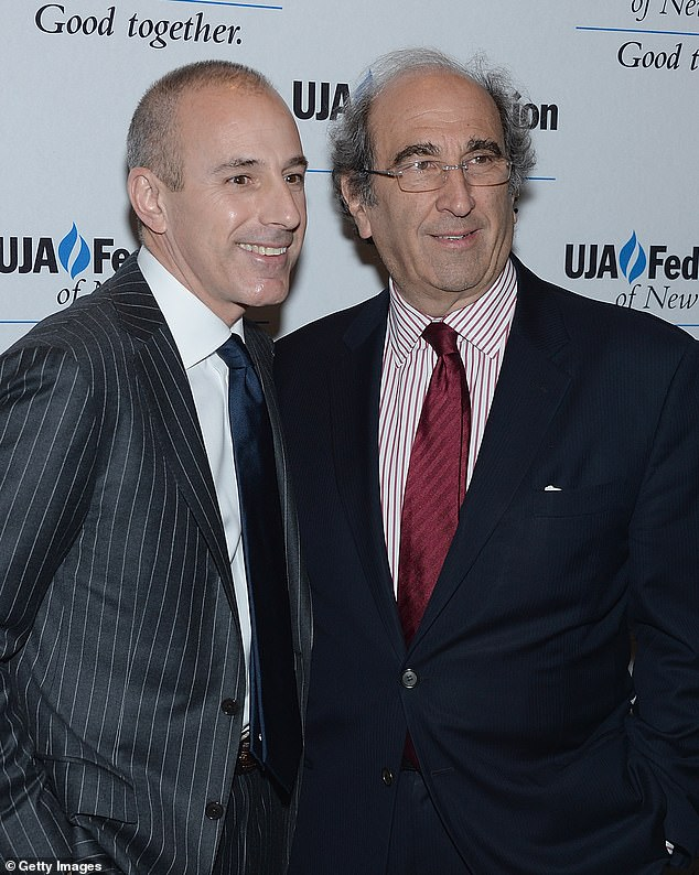Farrow also claims that because Andy Lack (pictured with Lauer), NBC's Chairman, wrote in an email to staff that Lauer had been fired over an alleged incident which occurred at the Sochi Games, it narrowed down the list of possibilities as to who his alleged victim might be. She had been promised anonymity, she said, but everyone soon figured out that she was the person who had reported him