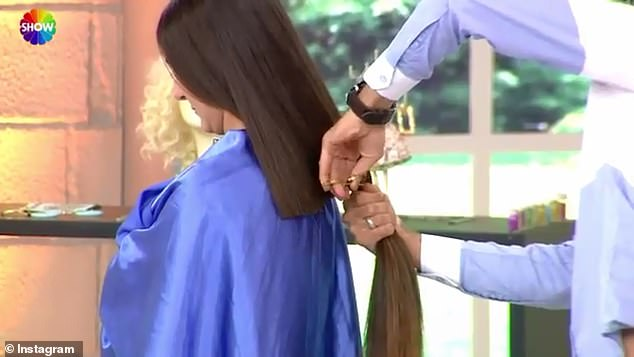 Chop chop: The model's dramatic response to having her long hair drastically cut without her knowledge has gone viral