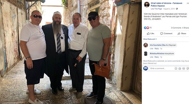 Chief rabbi of Ukraine Moshe Reuven Azman with former Arkansas governor Mike Hackabee - father of Sarah Huckabee Sanders - and 'American friends of Anatevka' Lev Parnas and Igor Fruman were pictured in Jerusalem