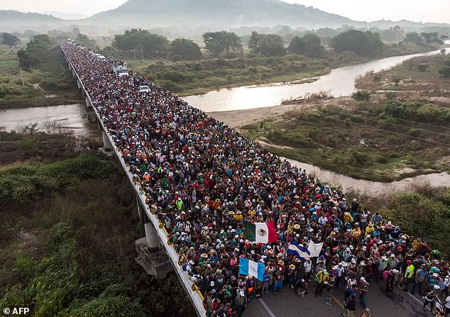 Identified only as Rolando, 27, the asylum-seeker fled to the US as part of a migrant caravan earlier this year, hoping to flee torture and persecution in his home country, two years after he was shot (pictured:Honduran migrants heading in a caravan to the US, as the leave Arriaga on their way to San Pedro Tapanatepec, in southern Mexico on October 27, 2018)