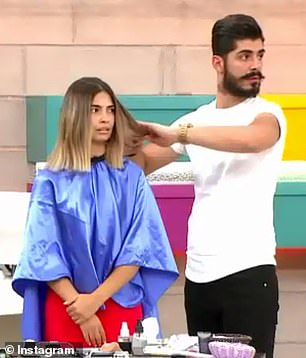 Contestants: The other hair dressers and their respective models stare awkwardly as İlayda broke down