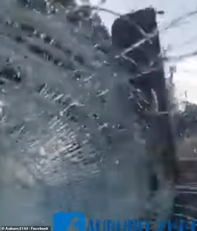 The windscreen shattered and covered the driver with shards of glass.It is unclear what happened before the incident