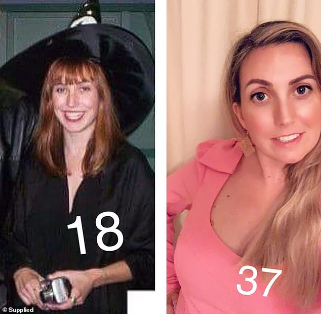 Katie Mouser, who is living in Canberra but it originally from American, looked like the picture of innocence at 18 wearing a witch's costume (left) but she looks just as sweet now at 37 (right)