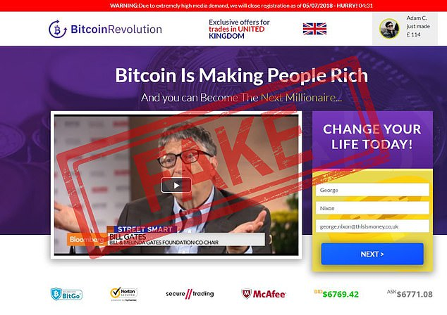 The platform's website encourages you to take the plunge and deposit €250 to become the next Bitcoin millionaire - and for added measure features a shot of Bill Gates