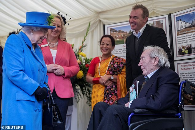 During her visit, she appeared overjoyed as she met with100-year-old Dam Busters veteran Ken Souter