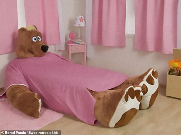 Upon seeing a the enormous bed shaped into a teddy bear one Bored Panda commenter wrote: 'I know its innocent but this is really creepy in my opinion'
