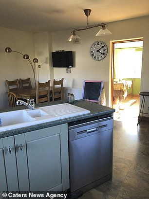 The grandmother said the transformation had seem daunting at first, but she managed to give the kitchen a makeover in less than a month (pictured, after)