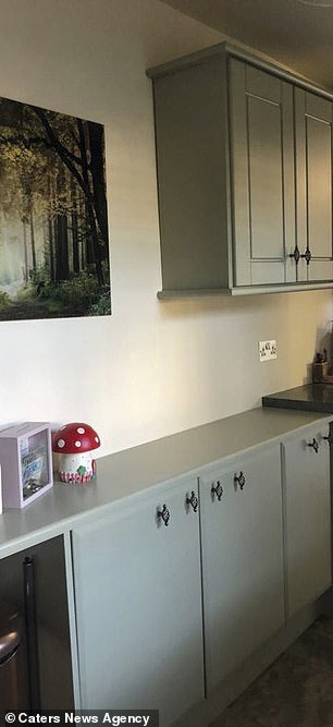 Jennie used her creativity to update the units and painted the '90s style wooden cabinets with a cool grey