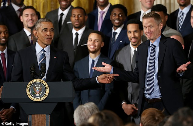 Kerr (right) has met the previous five presidents, thanks largely to his NBA career. In this 2016 photo, Kerr is seen meeting Barack Obama after guiding the Golden State Warriors to a title