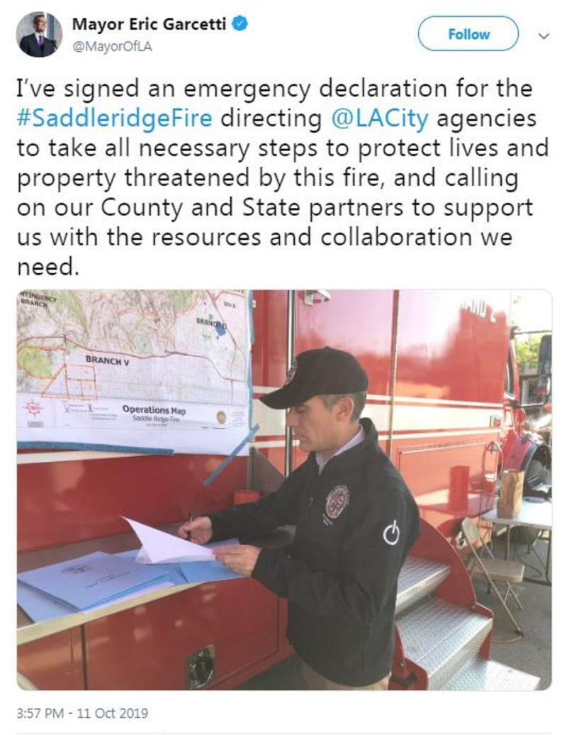 Los Angeles Mayor Eric Garcetti (pictured) signed an emergency declaration Friday evening that will allow Los Angeles agencies to utilize all necessary precautions to battle the Saddleridge Fire