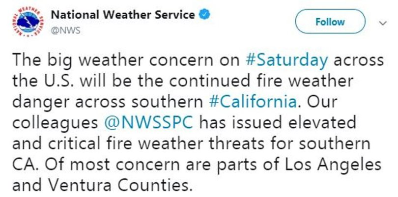 The National Weather Service said the latest weather concern for Saturday will be the 'continued fire weather danger' in southern California and have issued 'critical fire weather threats'
