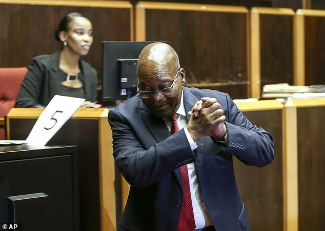 The charges were raised more than a decade ago but withdrawn, then reinstated after the National Prosecuting Authority announced there were sufficient grounds to bring Zuma (pictured yesterday in the High Court) to trial